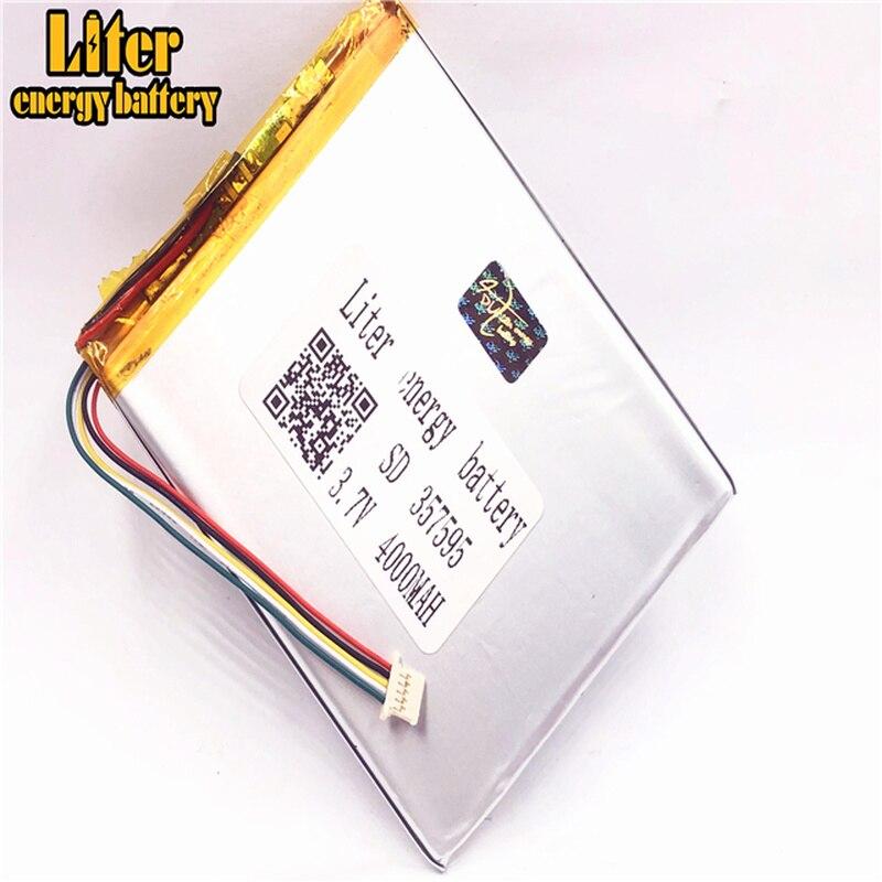 1.0 MM 5pin connecteur 357595 4000 mah 3.7 V lithium polymère batterie pour tablette pc batterie rechargeable