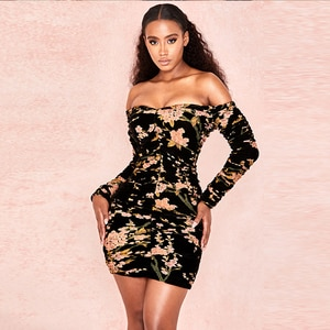 New Summer Bandage Dresses Clubwear Floral Long Sleeve Off Should Bandage Dress Bodycon Cut Out Sexy Celebrity Party Dress