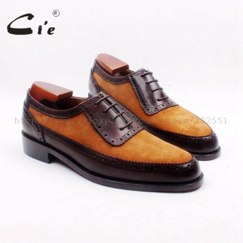 Мужские туфли-оксфорды cie, коричневые замшевые туфли ручной работы с круглым носком, подходящие к икры, темно-коричневые туфли из натуральной кожи, № OX712