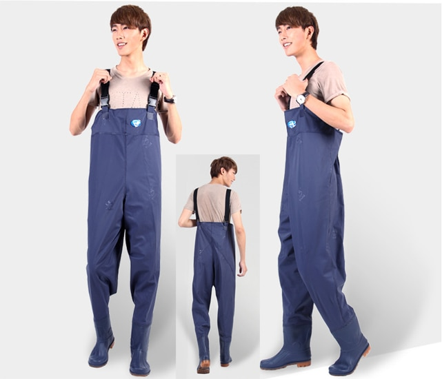 Blue Thick PVC Breathable Chest Wader Waterproof Fly Fishing Boots Wader Wtocking Foot waadschoenen respirant cuissarde de peche enlarge