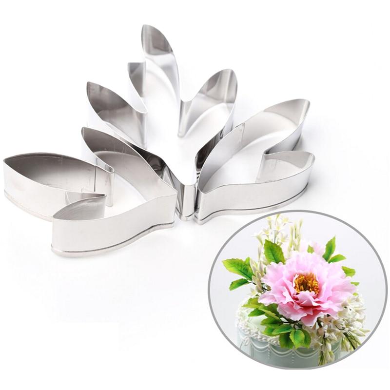 3 sztuk/zestaw narzędzie do dekoracji ciast Fondant narzędzia ze stali nierdzewnej piwonia kwiat liści frezy