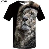 kyku lion t shirt men animal tshirt sex funny t shirts slim 3d print t shirt hip hop tee cool mens clothing 2018 new summer top