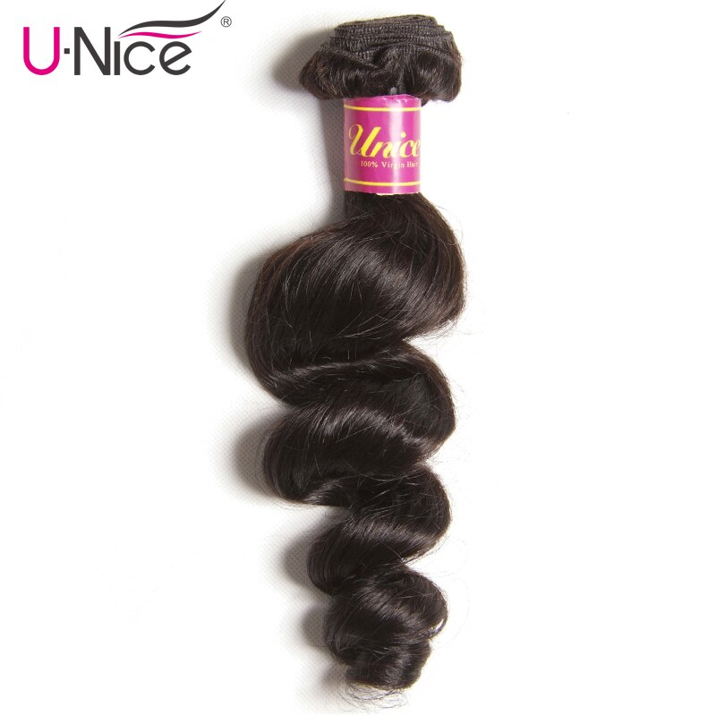 Mechones de pelo suelto malayo de UNice Hair Company, 1 pieza, extensión de pelo humano de 100%, extensión de cabello Remy de Color Natural, envío gratis