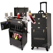 Retro Style  large volume Multifunctional makeup Rolling Luggage Professional hairdressing tools brand custom Suitcase