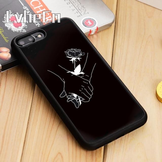 LvheCn arte blanco línea beso amor corazón flor Rosa caja del teléfono para iPhone 11 Pro X XR XS MAX 5 5 5 6 6 7 8 Plus samsung s7 s8 s9 s10