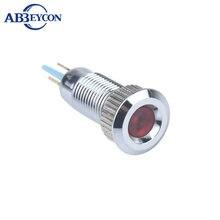 2 v 3 v 6 v 12 v 24 v 36 v 110 v 220 v Messing 8mm dot LED Verlichte Concave Hoofd Waterdichte Semaphore Pilot Indicator Light