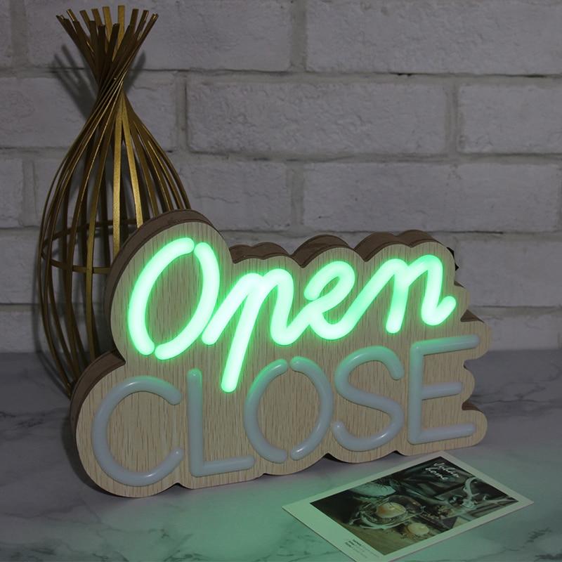 Wood Decor Lights Letter Close/Open Lamp Light For Store Door Battery Powered Bar Decoration Outdoor LED Light Hangable