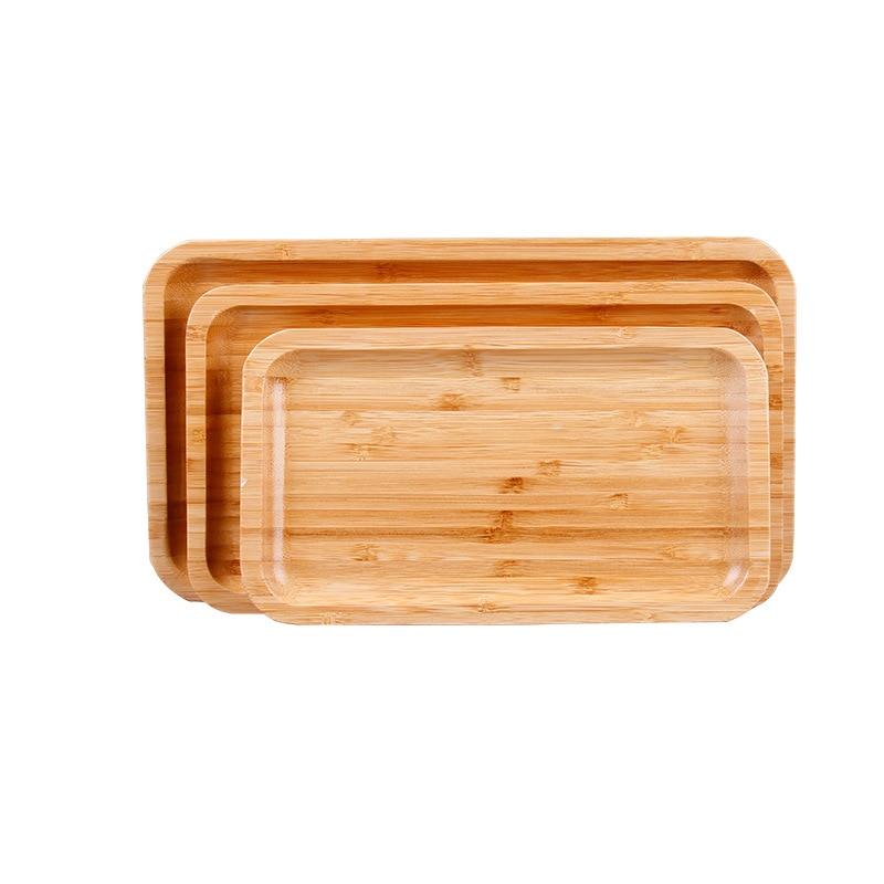 Rectangle Shape Bamboo Pan Plate Fruit Dishes Saucer Tea Tray Dessert Dinner Bread Plate