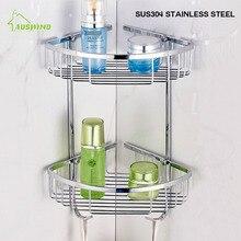 304, accesorios de baño de acero inoxidable, doble trípode, estante de esquina para inodoro, cesta de almacenamiento para cosméticos montada en la pared
