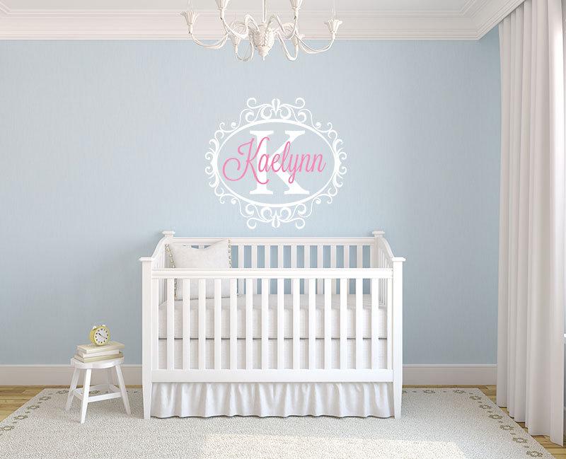 YOYOYU, arte para decoración del hogar, nombres personalizados, pegatina de pared, pegatina de vinilo para niños, chicas, decoración de habitación, WW-491 de guardería