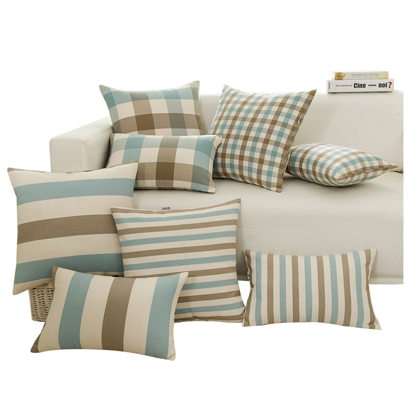 30X45/40x4 0/45x4 5/50x5 0/55x55cm algodón simple Lino plaid/funda de cojín caso sofá almohada Mediterráneo wasit funda de almohada