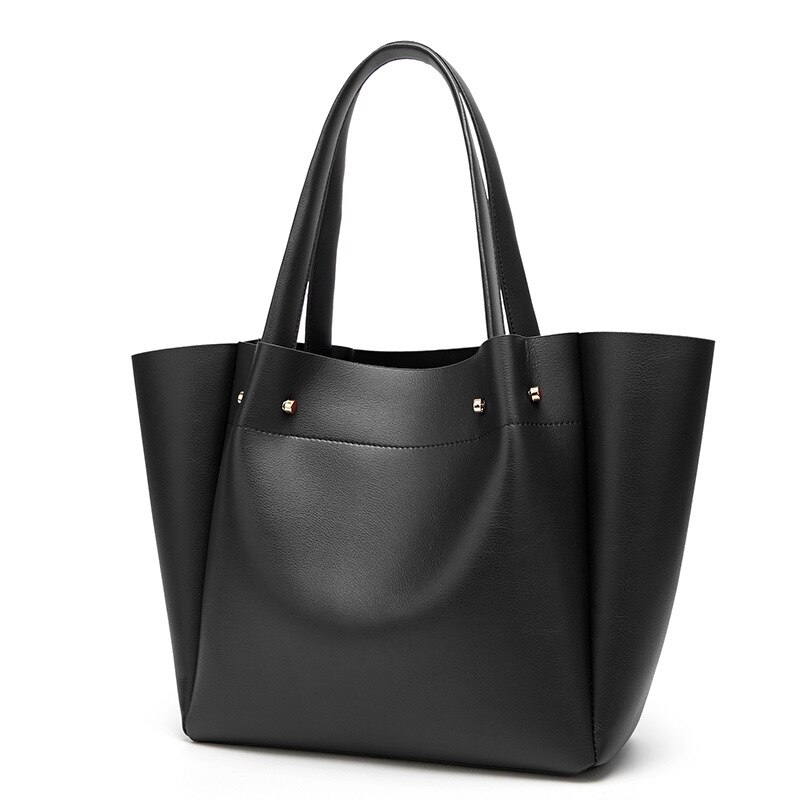 2018 new shoulder bag female Europe and America large capacity ladies bag retro fashion black bag free shipping