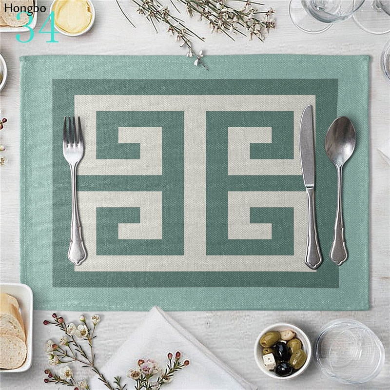 Art géométrique rayures motif lin tapis de Table napperons pour cuisine salle à manger Place tapis tampons