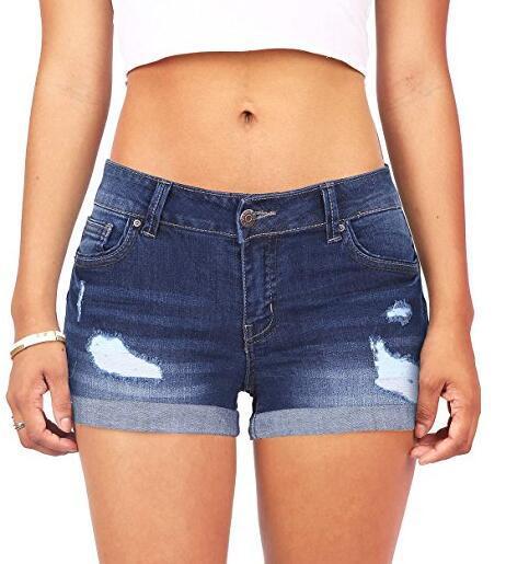 Pantalones cortos de mezclilla para mujer, pantalones cortos clásicos de cintura alta azul ancho, pantalones cortos de verano Caual para mujer