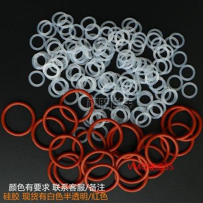 Anillo de sellado no tóxico de alta temperatura Oring tipo silicona 100 Uds., diámetro 2MM, diámetro exterior 6,5mm-25mm