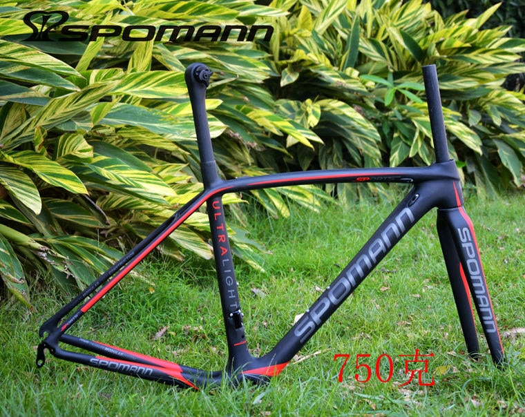 Newest lightest SPOMANN red green 700C Road bike matte UD full carbon fibre bicycle frames+fork+seatpost+headsets+BB Free ship
