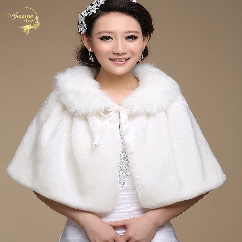 Venda quente outerwear 2018 nova chegada instado envoltório noiva vestido formal inverno capa de pele da noiva xale wedding jackets wrap oj00166