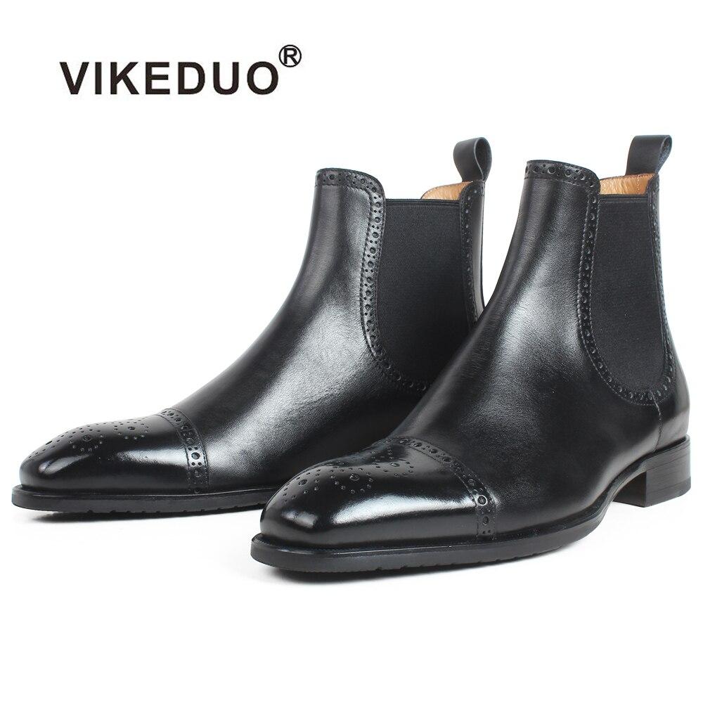 VIKEDUO-حذاء جلد البقر الأسود تشيلسي للرجال ، حذاء جلد أصلي بدون أربطة ، جلد صناعي ، بروغ ، Patina بليك ، خريفي ، جديد