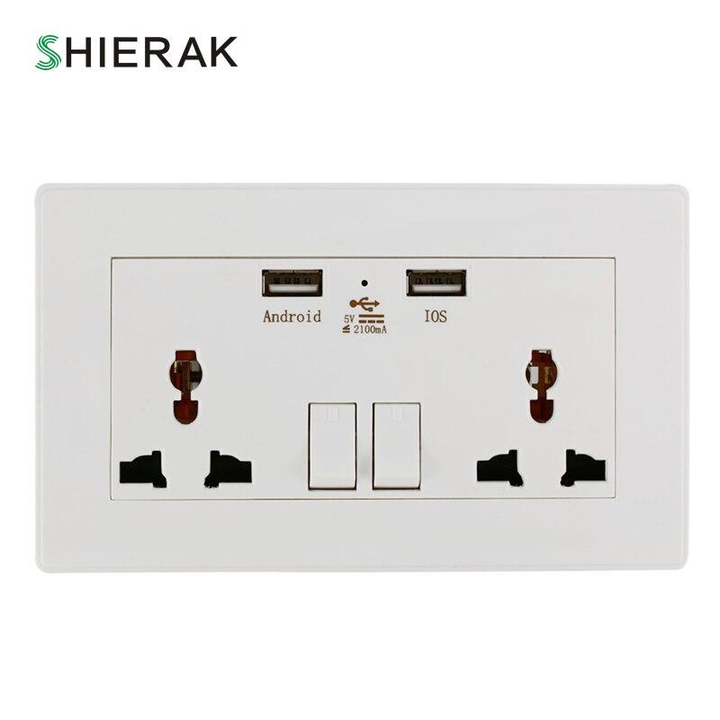 SHIERAK enchufe de pared estándar Universal de 2100mA con adaptador de enchufe de puerto USB Dual toma de corriente blanca 2 enchufe de pared USB para el hogar
