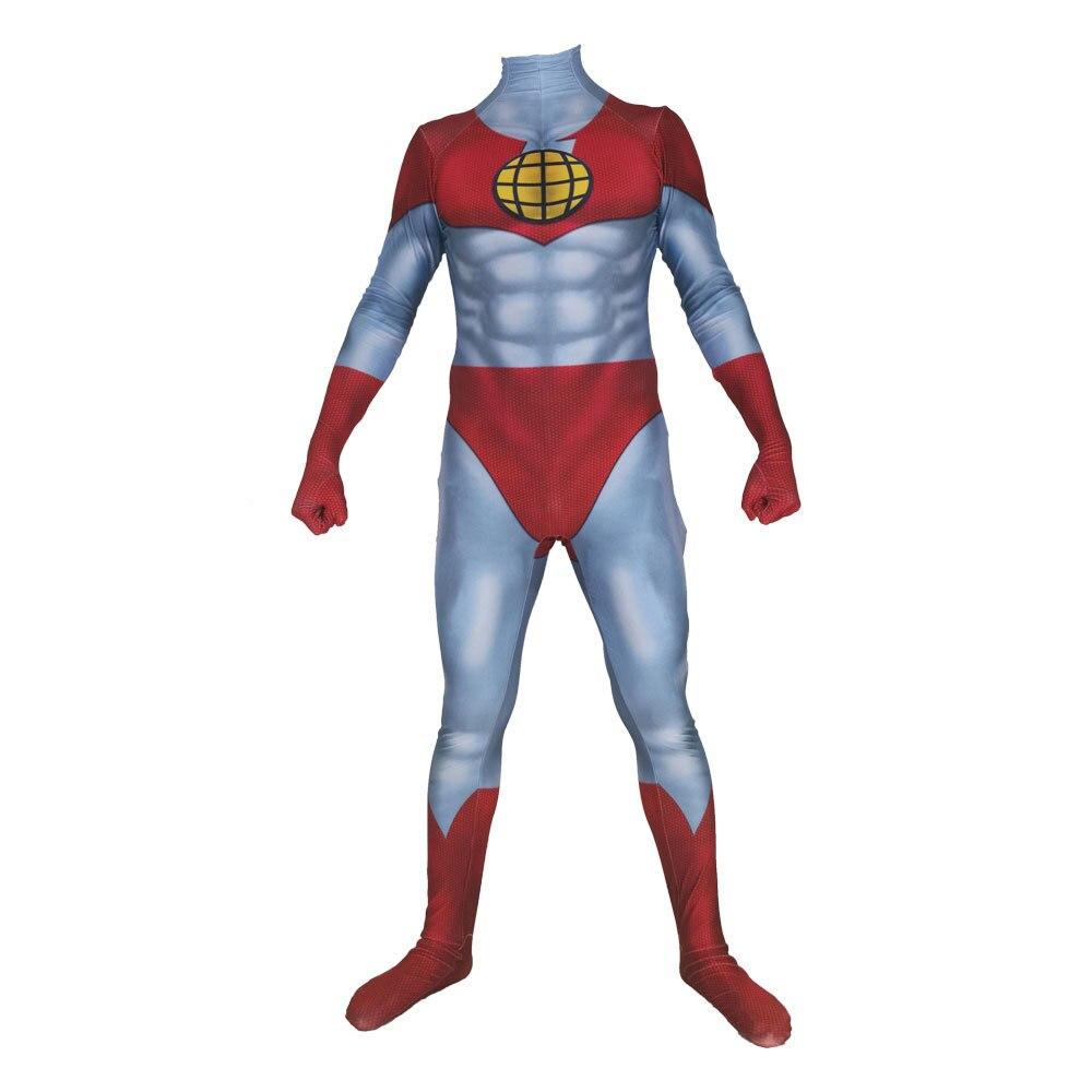 Kaptan Gezegen ve Gezegen Kaptan cosplay Kostüm Mavi Spandex Süper Kahraman Kostüm Pantolon cadılar bayramı Cosplay Kostüm