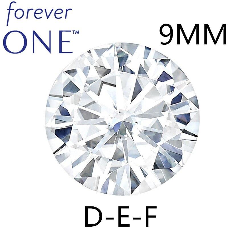 Super calidad 2.7CT 9mm efecto certificado Charles Colvard redondo corte suelto Moissanite diamante piedras incoloro DEF del