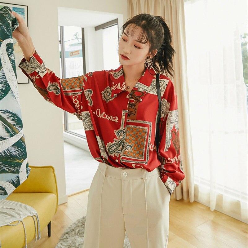 2019 primavera y verano Vintage Casual blusa roja mujeres de manga larga tops y blusas para mujer suelta