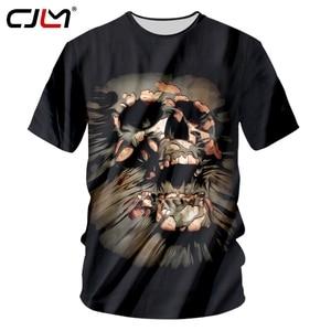 CJLM Black Tshirt Men's Summer Tops 3d Print Skull T-shirts Man Hiphop Bodybuilding Fitness Workout T Shirts O Neck Tees Unisex