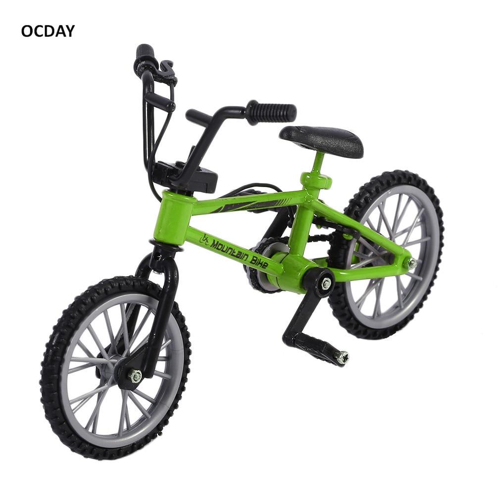 ¡Caliente! OCDAY Aleación de simulación dedo bmx bicicletas niños Mini tamaño verde diapasón juguetes de bicicleta con cuerda de freno regalo