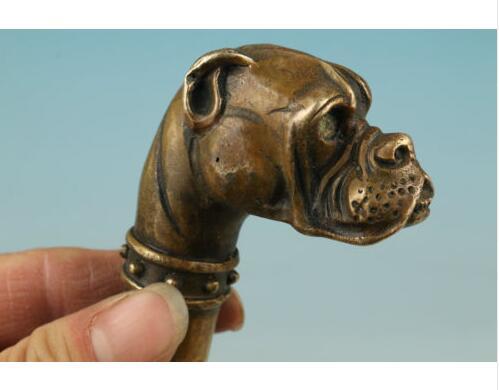 Bronce, cobre puro antiguo Qing Ming latón bronce chino tallado a mano estatua de perro bastón cabeza