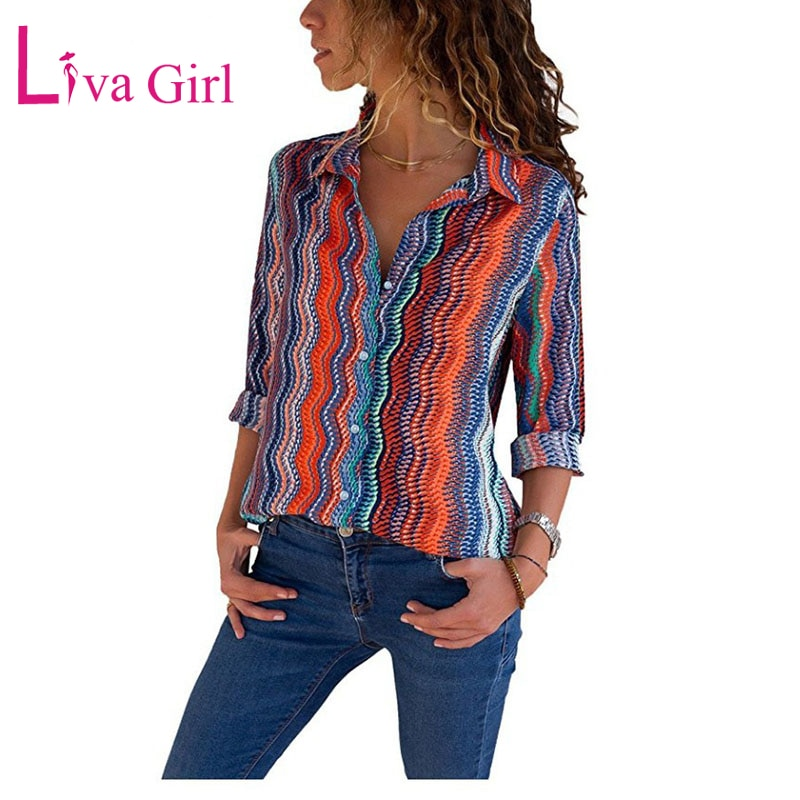 LIVA GIRL Casual rayas estampado Blusas Camisas De talla grande mujeres De manga larga grandes Blusas De Moda Mujer Camisas Feminina Tops 5XL