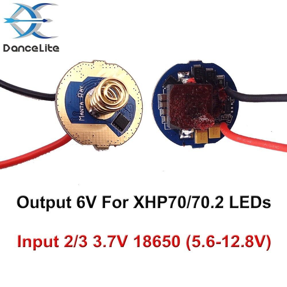 1 linterna de PC DIY Parts 22mm salida 6V LED Driver placa de circuito para XHP70/70,2 LEDs 2/3 3,7 V 18650 alimentado por batería (5,6-12,8 V)