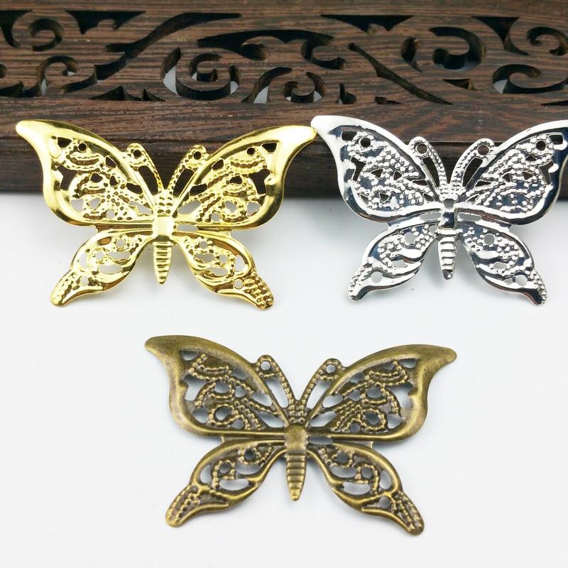 20 unids/lote x 38x26mm oro color/rodio/antiguo bronce filigrana metálica mariposa flores rebanada encantos ajuste joyería