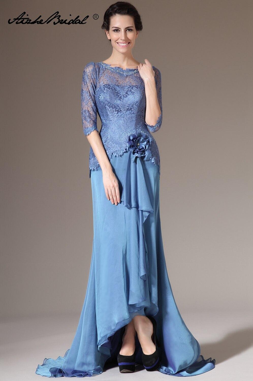 Vestidos largos formales para mujer, vestido De encaje De gasa De media manga De sirena para Madre De La Novia