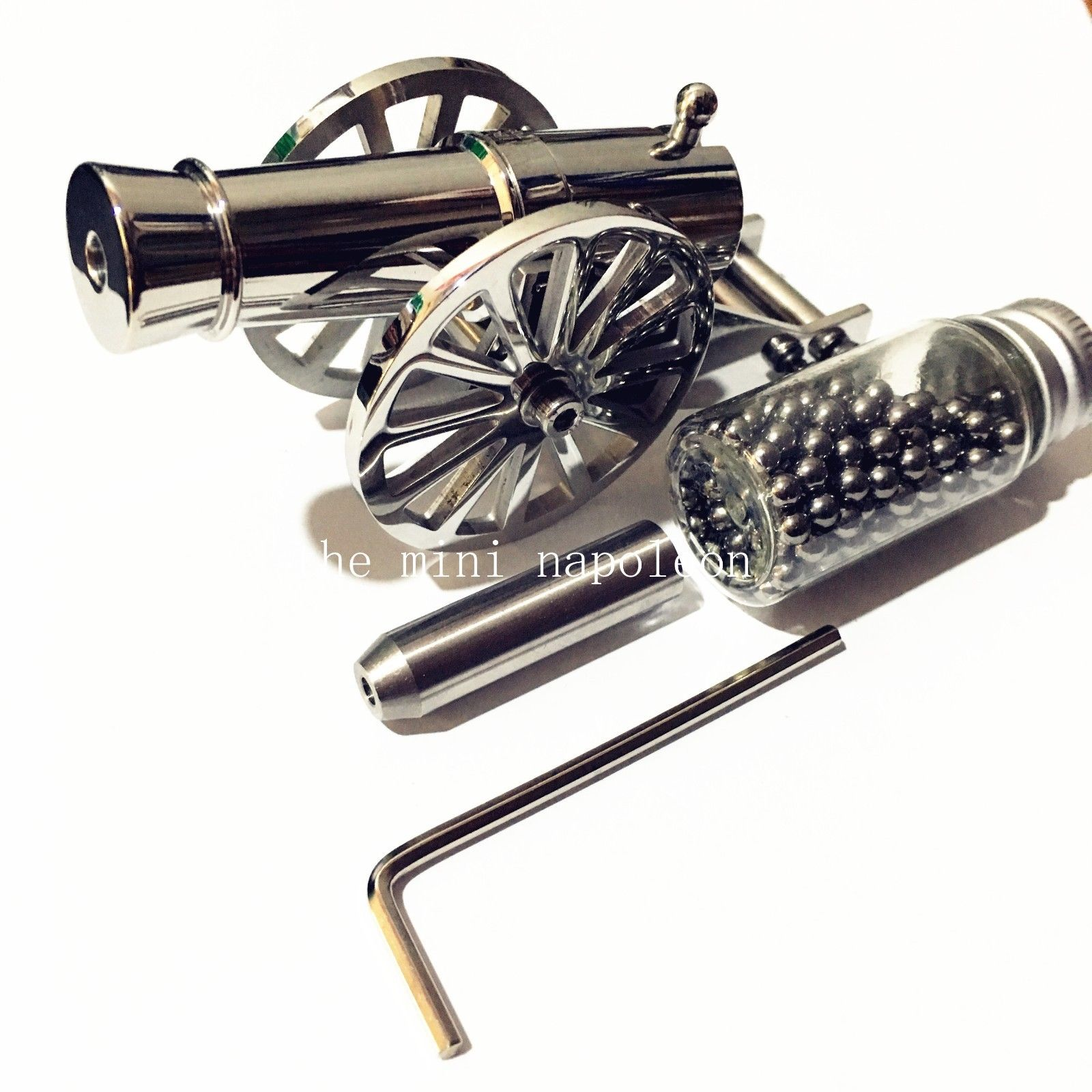 Classic Mini Warriors Napoleon Cannon stainless steel Desktop model Naval Model Artillery ornaments Collectibles catapult Toys
