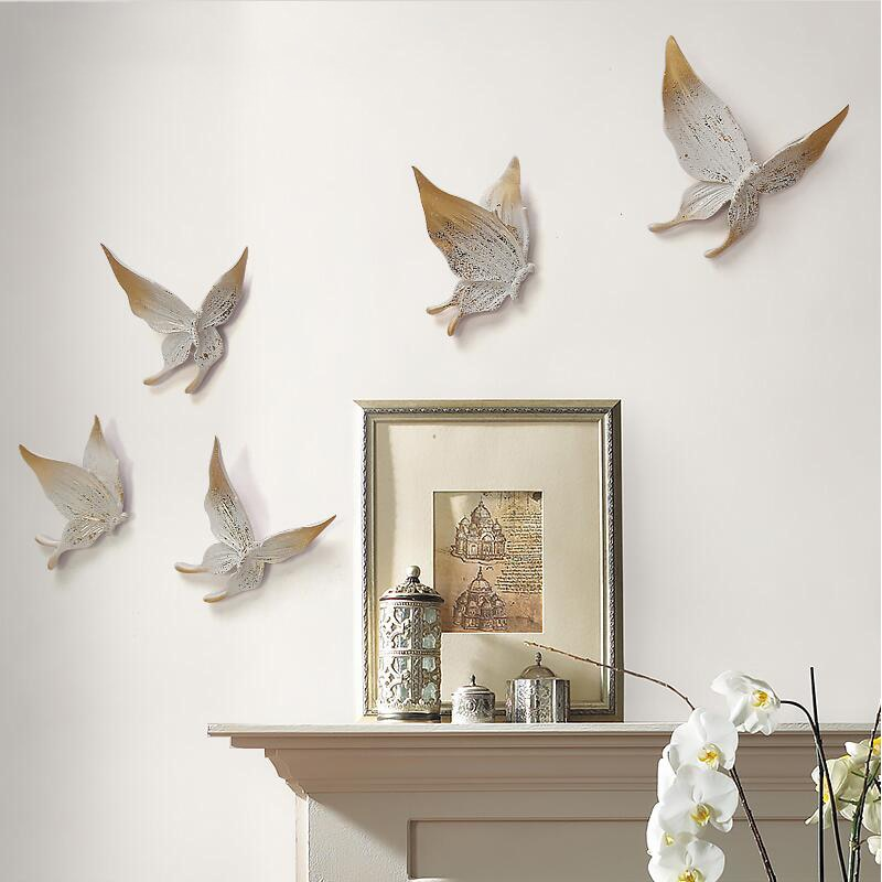 5 uds 3D Stereo resina colgante de pared mariposa Adhesivo de pared de fondo TV Mural ornamentos artesanías hogar sala de estar decoración de la boda