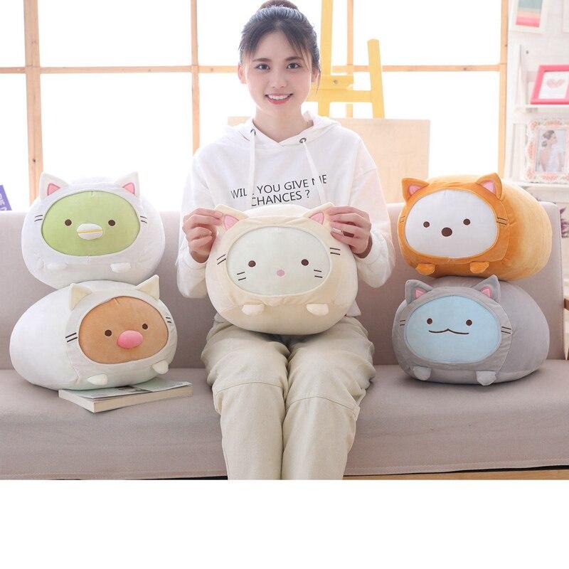 Animação japonesa sumikko gurashi brinquedos de pelúcia san-x canto bio vestir-se como um gato cartoon travesseiro boneca crianças meninas presente dos namorados