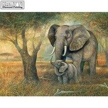 100% Full Square 5D Diy Daimond Painting Cross-stitch Elephant Mom&Baby 3D Diamond Painting Rhinestones Paintings Embroidery