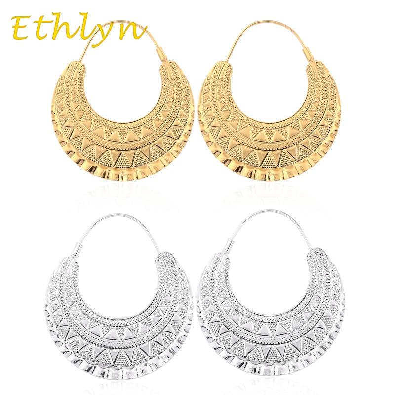 Ethlyn Top Sale 2016 moda Eritrean/etíope/Nigeria/Kenia/Ghana etíope diseño Color oro mujer pendientes E02