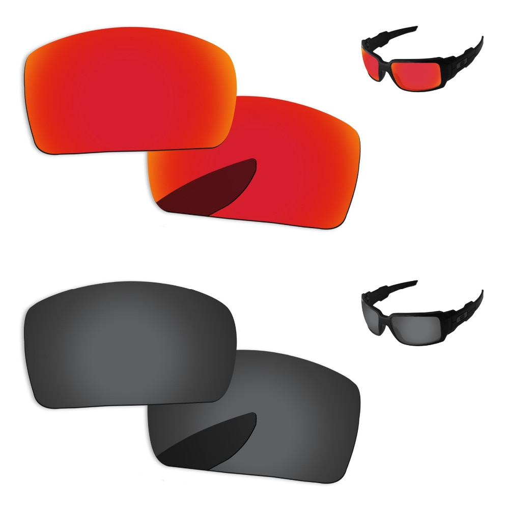 Black Grey & Fire Red 2 Pairs Polarized Replacement Lenses For Oil Drum Sunglasses Frame 100% UVA & UVB Protection