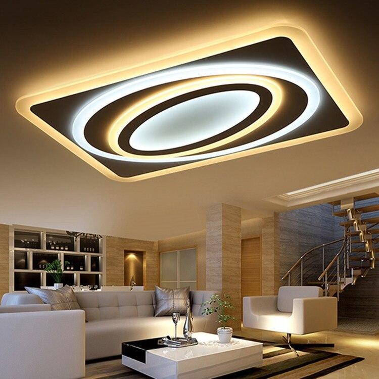 Personnalité artistique Planet Ultra-mince LED acrylique plafonnier maison LED Dimmable Horizontal réglable plafonniers 90-260 V