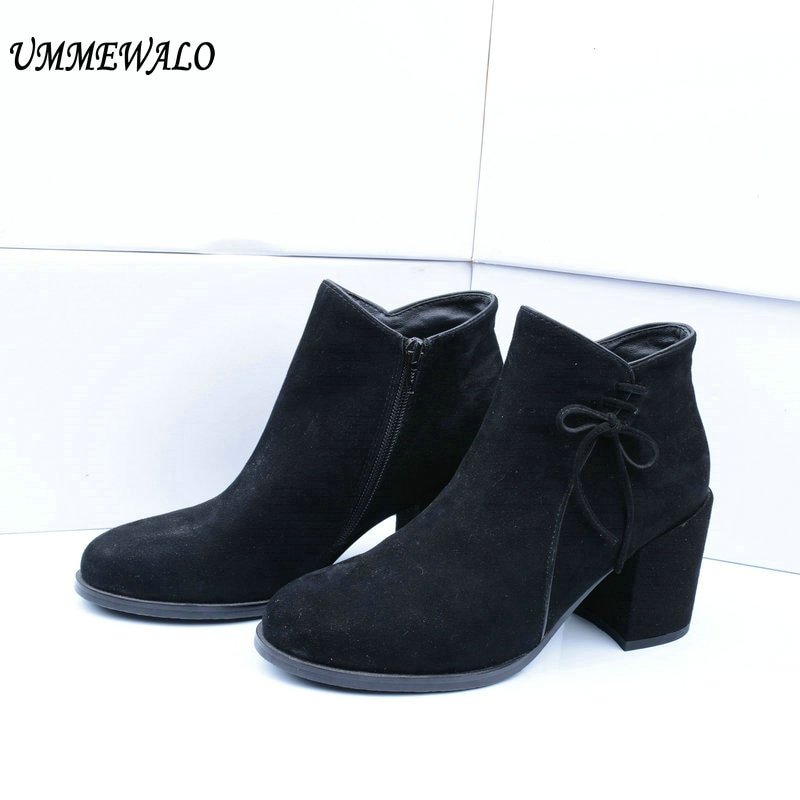 UMMEWALO Boots Women Suede Leather High Heel Boots Qualiy Round Toe Shoes Ladies Casual Autumn Winter Shoes botines mujer