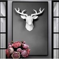 3d resin deer head sculpture murals home wall hanging elk statue handmade ornament artwork craft small size deer head sculpture