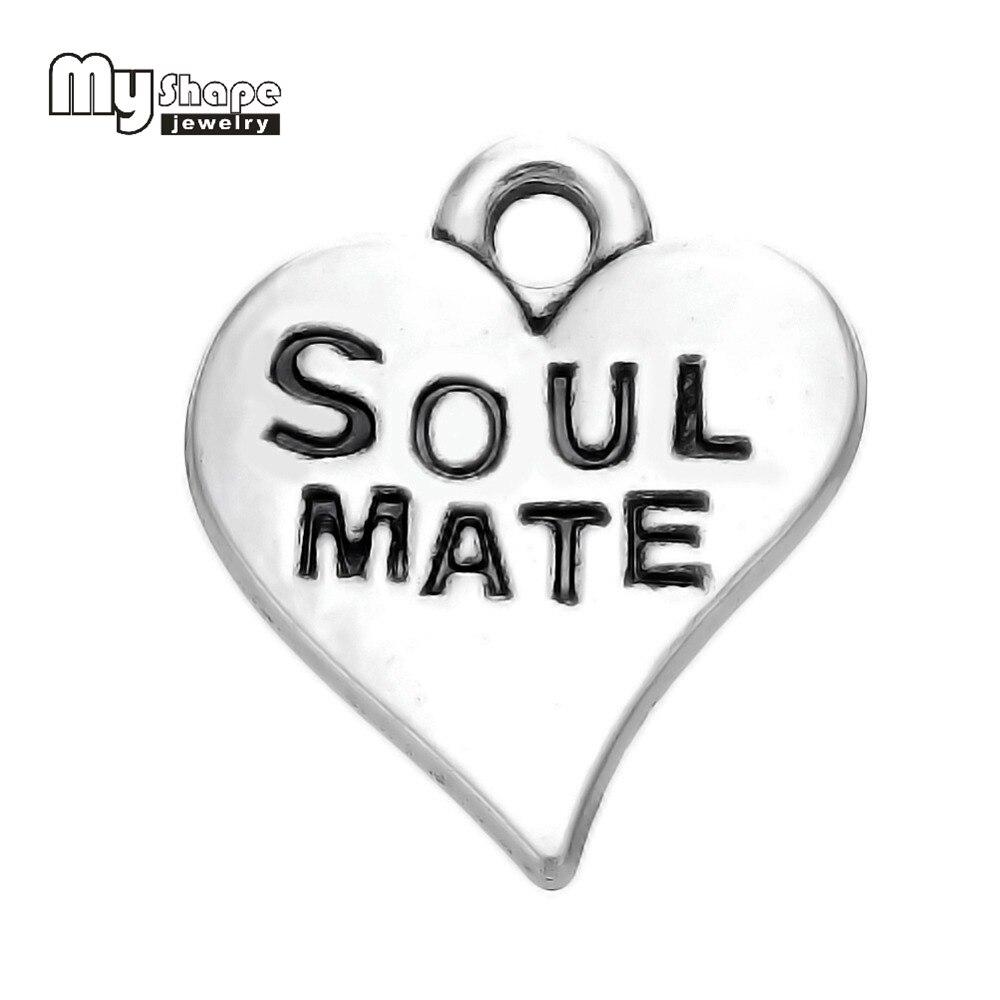 Minha forma 20 pces feito à mão alma gêmea gravado no redemoinho coração encantos diy jóias para amantes/melhores amigos soulmate presentes especiais