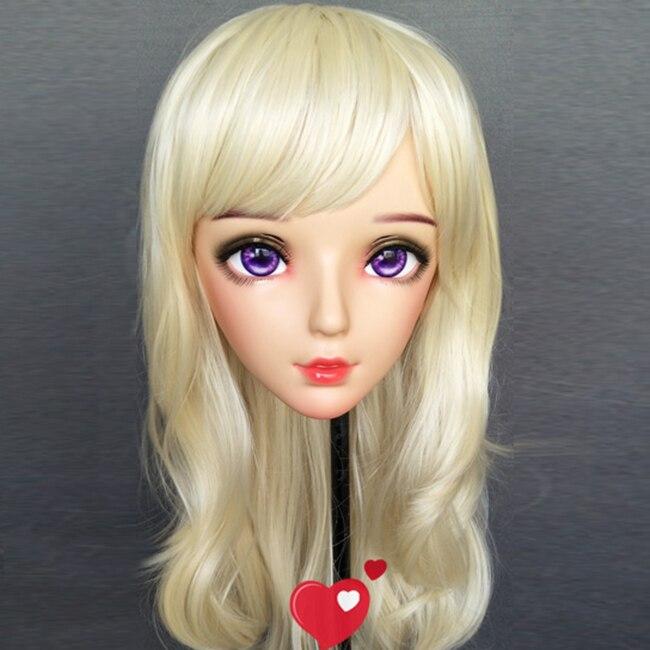 Feminino Doce Menina Resina Meia Cabeça Kigurumi Bjd Máscara Cosplay Anime Japonês Papel Lolita Boneca Crossdress Nan-03