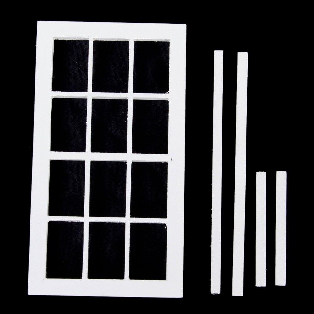 Escala 112, casa de muñecas en miniatura, 5,2 pulgadas, madera blanca, marco de ventana de 12 paneles, casa de muñecas, muebles, juguetes para niños