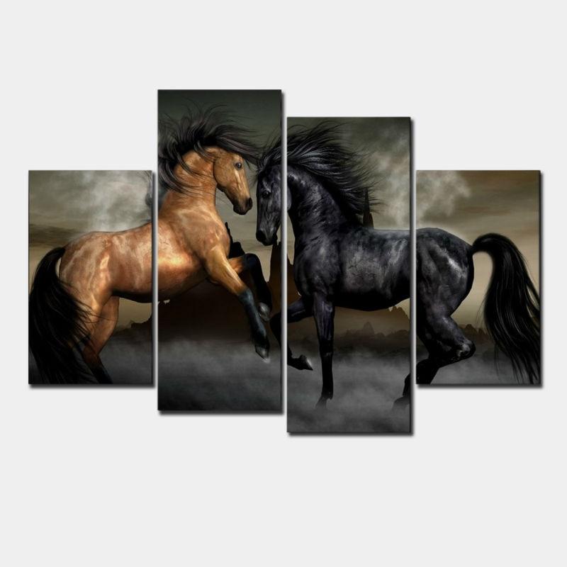 New Modular Pictures 4 pances Modern animal oil modular paintings canvas wall art painted horse walking elegant living room bedr