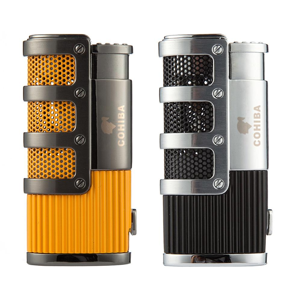 COHIBA Cigar Lighter Butane 3 Torch Jet Flame Lighter With Cigars Cutter Punch Accessories Windproof