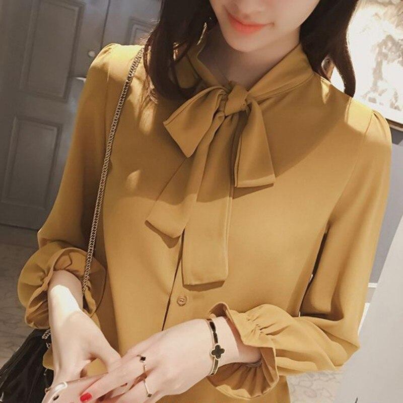 Élégant à manches longues femmes chemise mince printemps mode tours bow mousseline de soie blouse bureau dames formelle grande taille hauts jaune