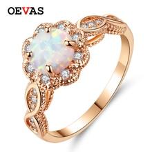 Livraison directe nouveauté opale de feu blanc couleur or Rose bijoux de mode femmes brillant AAA CZ anneaux de mariage taille 5 6 7 8 9 10 11 12