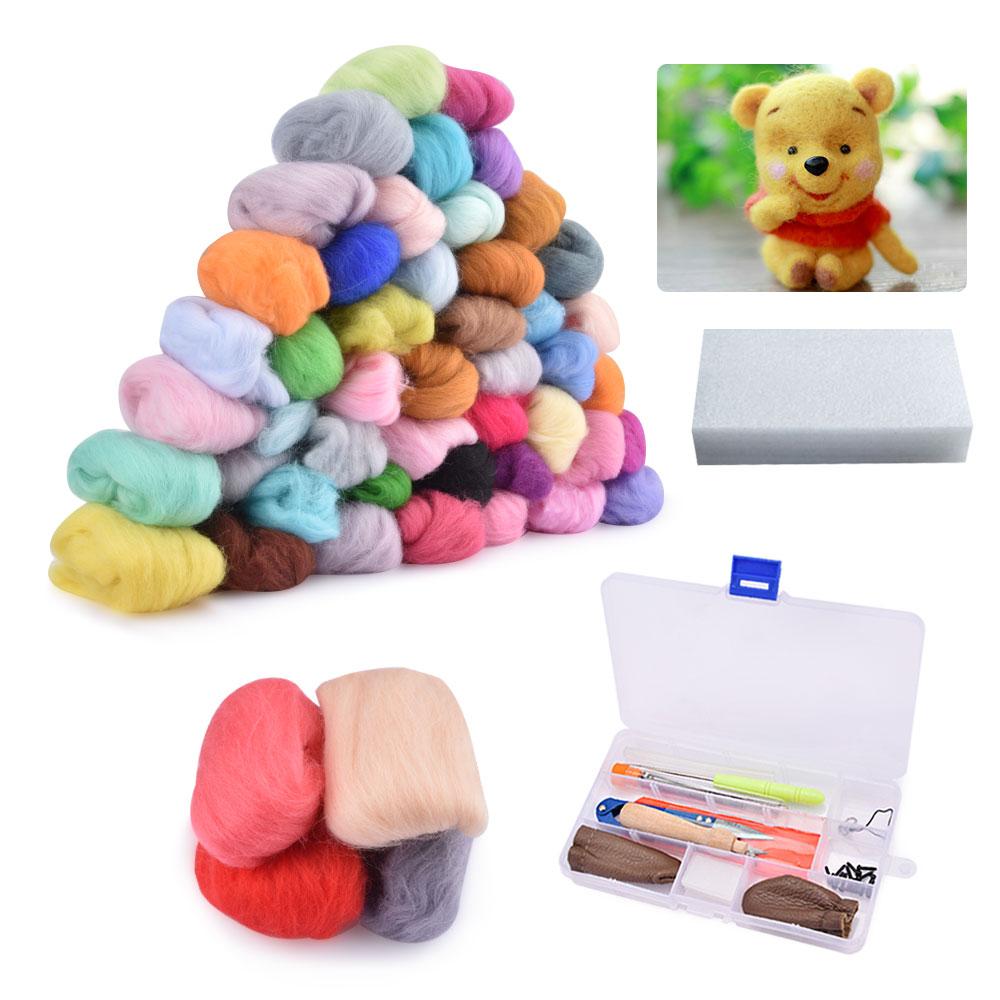 Kit de fieltro de aguja para manualidades, 24/36/50 colores, fibra de lana, hilado a mano para manualidades, aguja de costura, Material para tejer